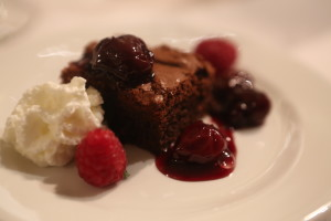 Brownie with cherry compote